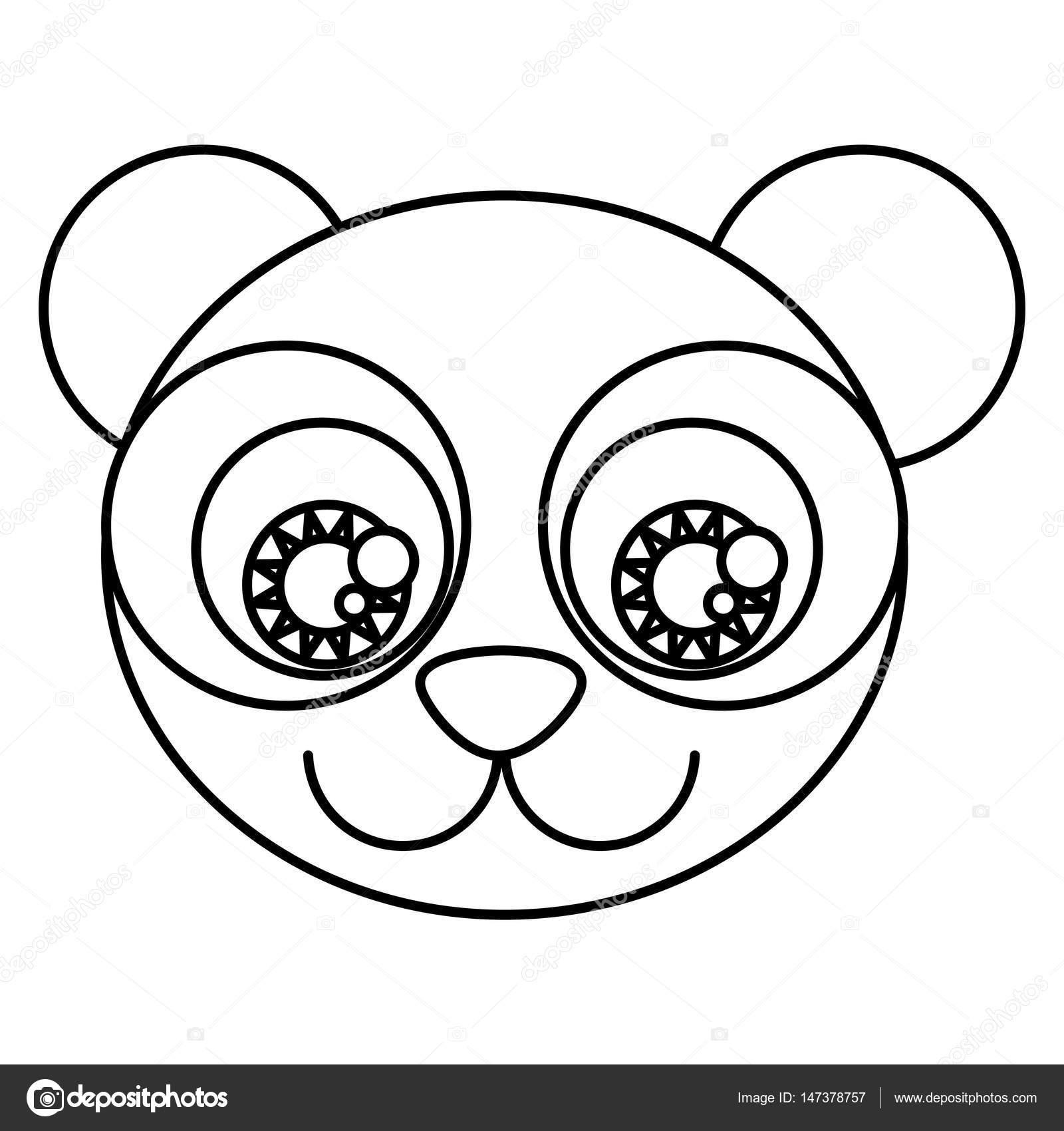 dibujos animados de silueta cara lindo oso panda con ojos expresivos ...