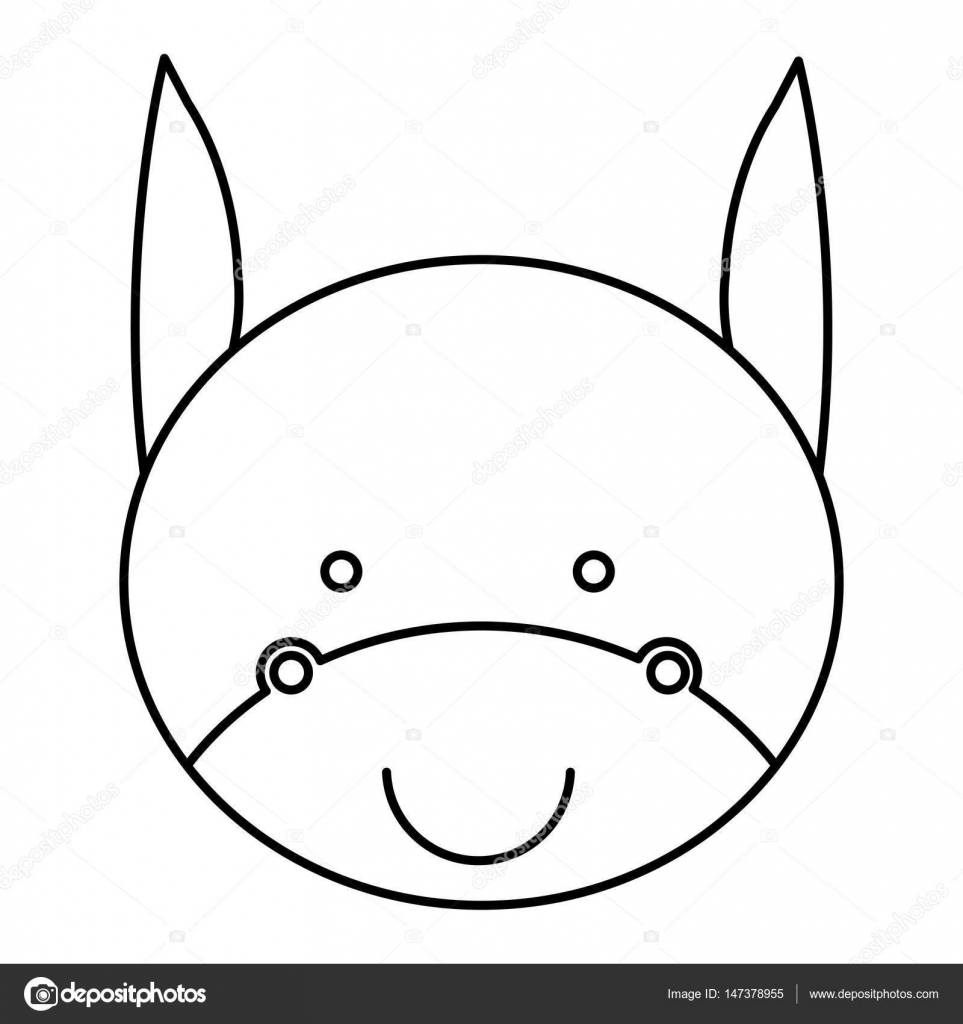 silhouette caricature cute face donkey animal farm icon — Stock ...