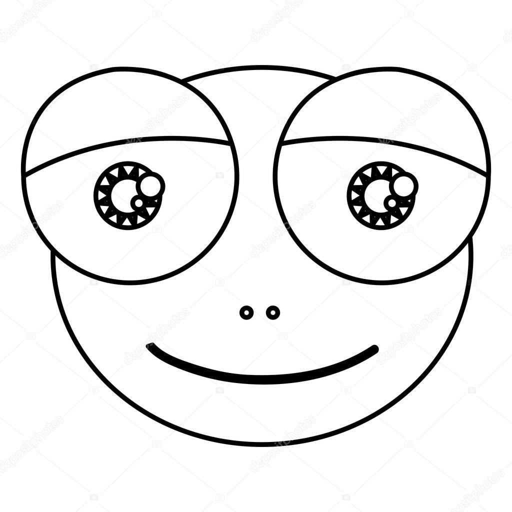 表情豊かな目ヒキガエル両生動物シルエット漫画かわいい顔 — ストック