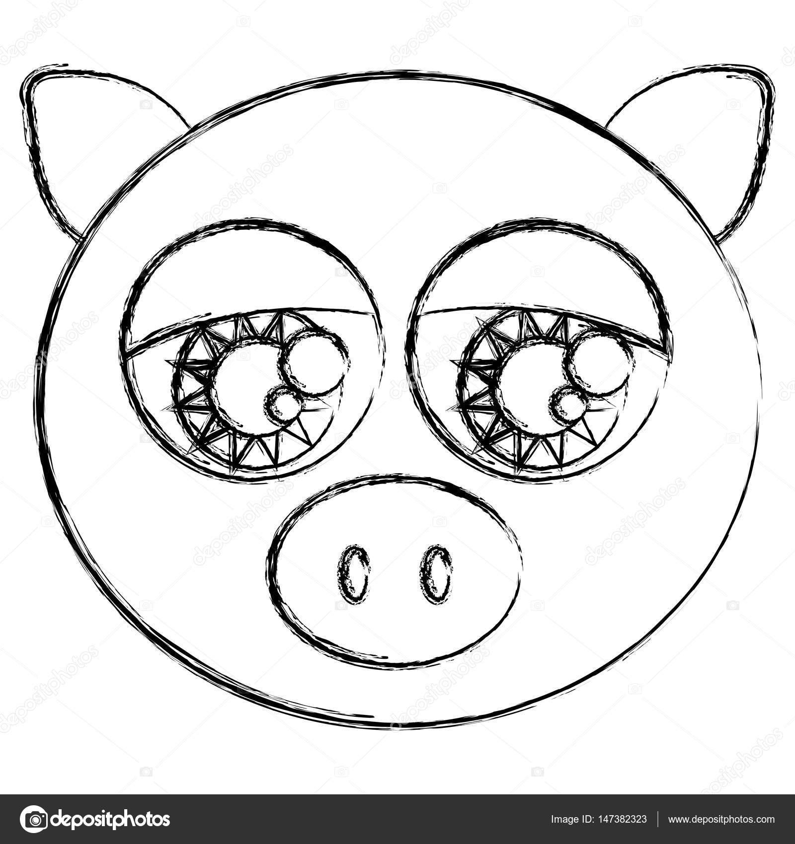 dibujo borrosa silueta cara cerdo lindo animal con ojos grandes ...