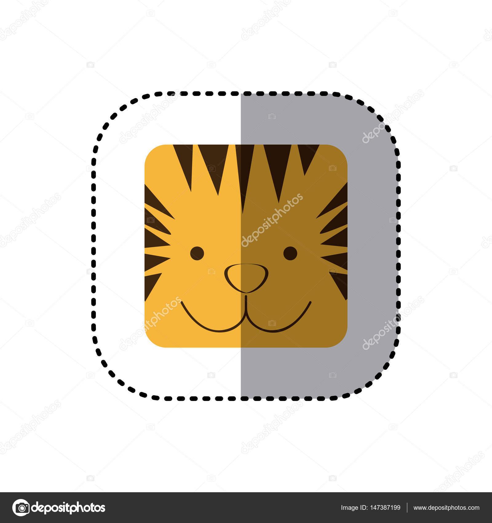 bunte Gesicht Aufkleber Tiger Gesicht in quadratischen Rahmen ...