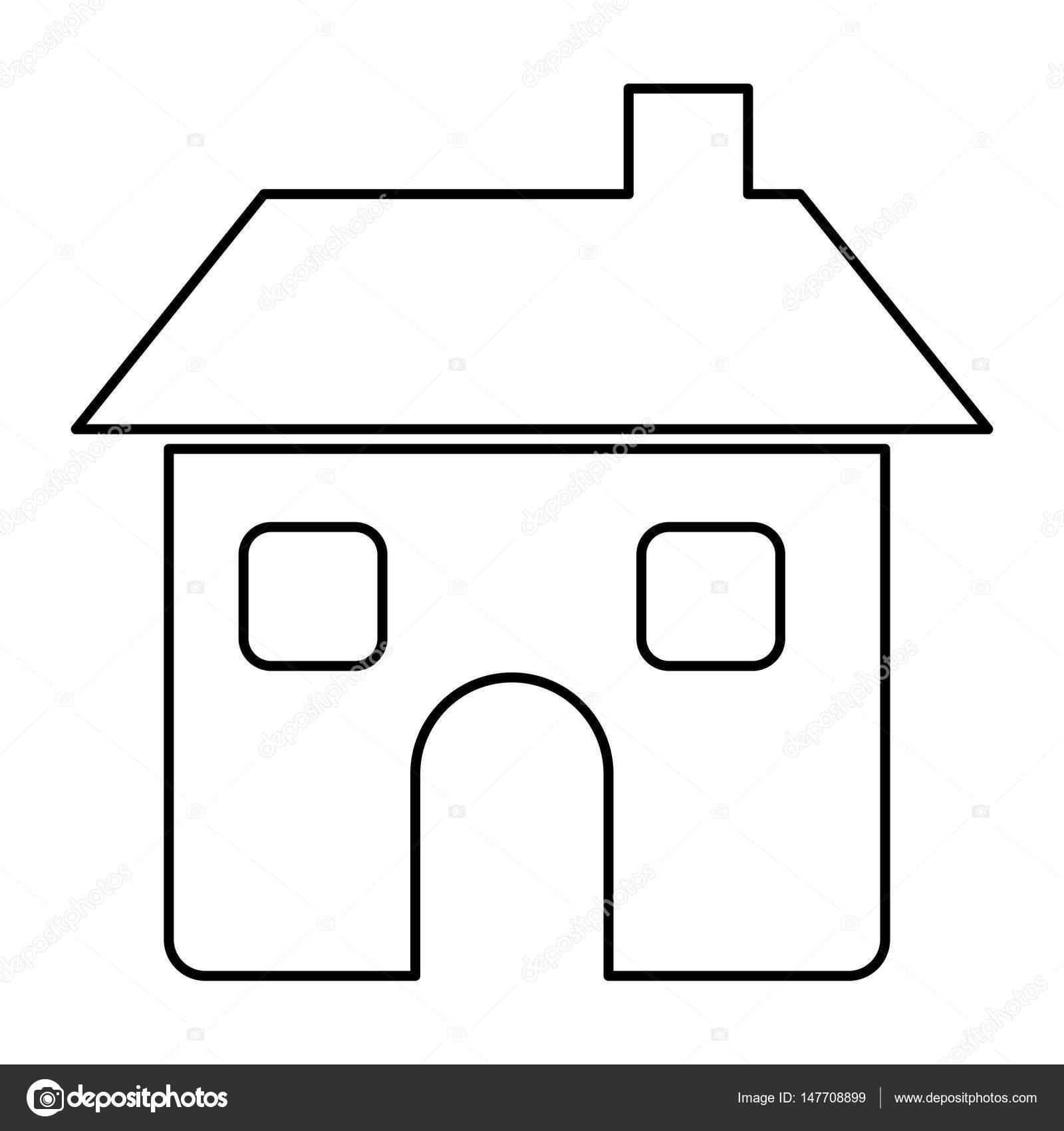 Casa De La Figura Con Dos Ventanas, Puerta Y Chimenea