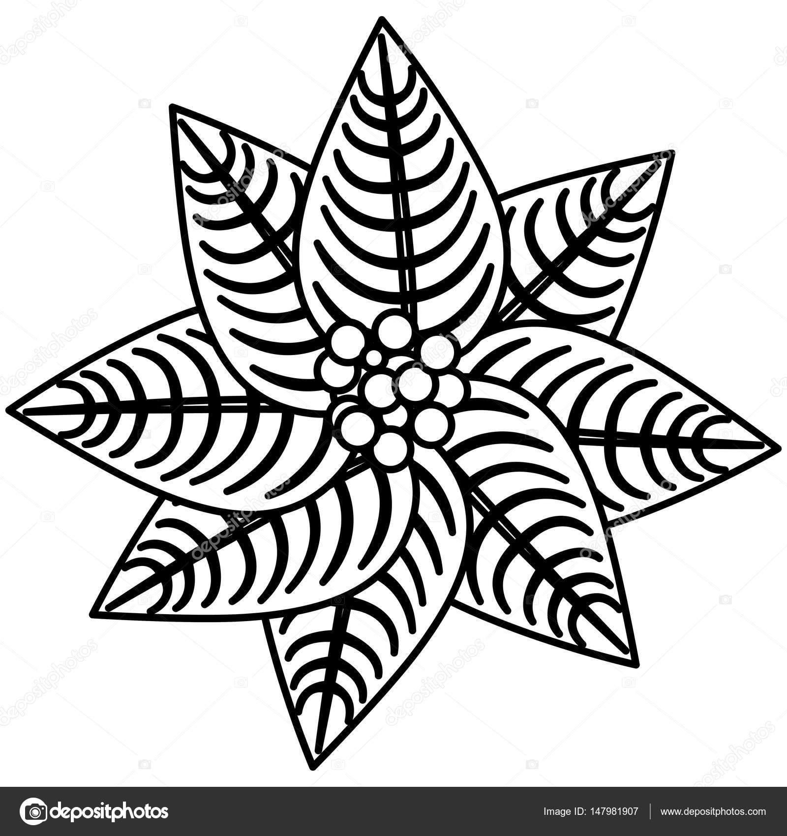 diseño de icono de silueta flor de Pascua Navidad flores — Archivo ...