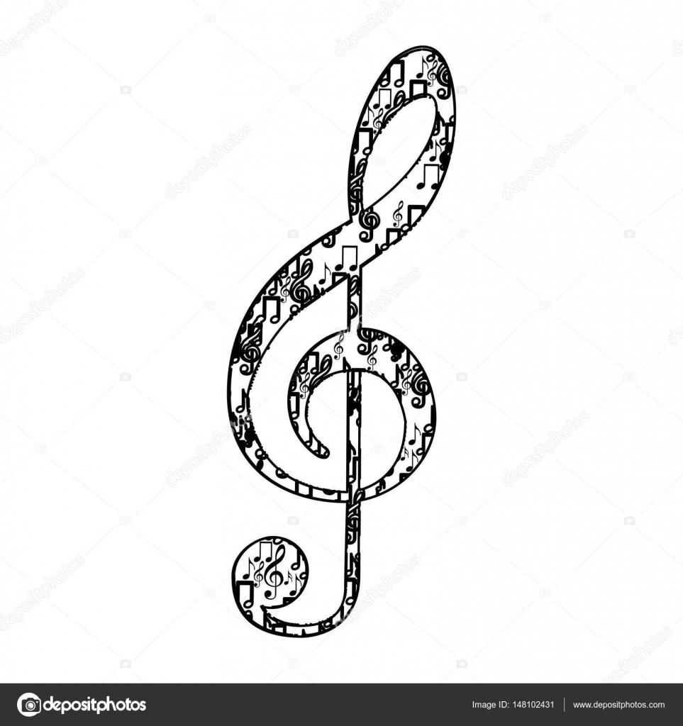 ト音記号音符によって形作られる白黒のシルエットで ストックベクター