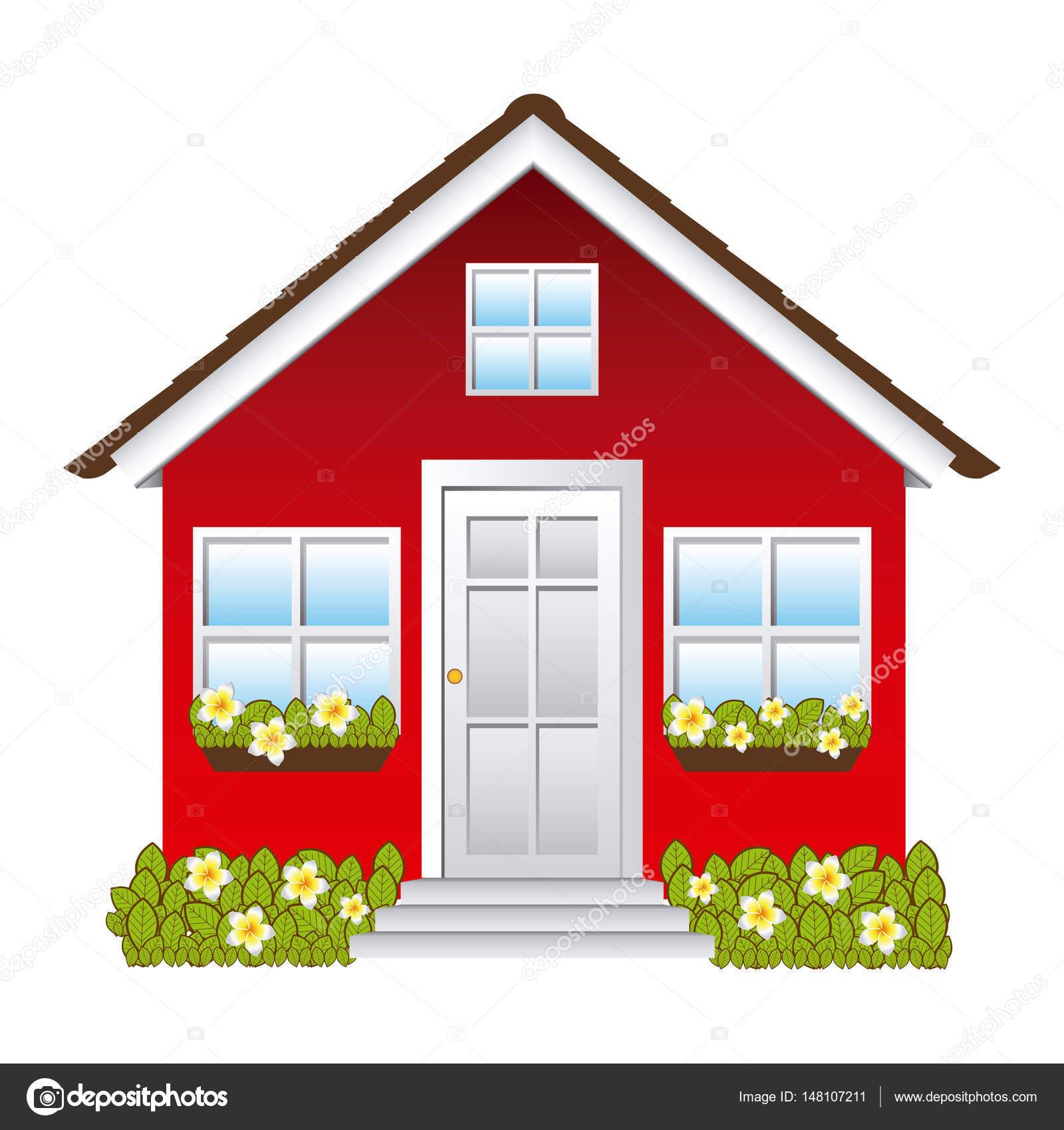 Großartig Fassade Haus Dekoration Von Komfortable Mit Garten — Stockvektor