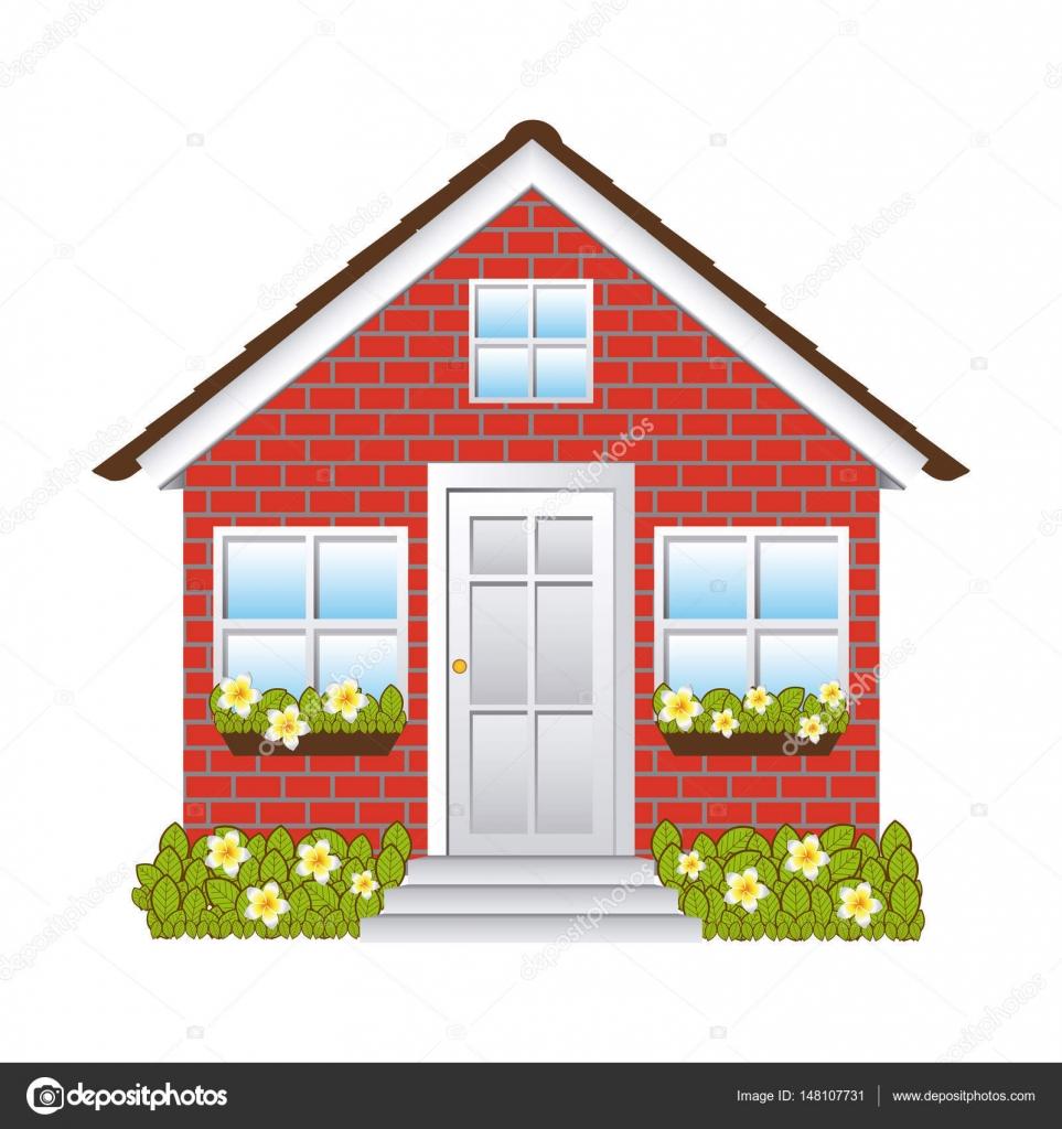 Casa de fachada confort vel com parede de tijolo vetores - Fotos de recibidores de casas ...