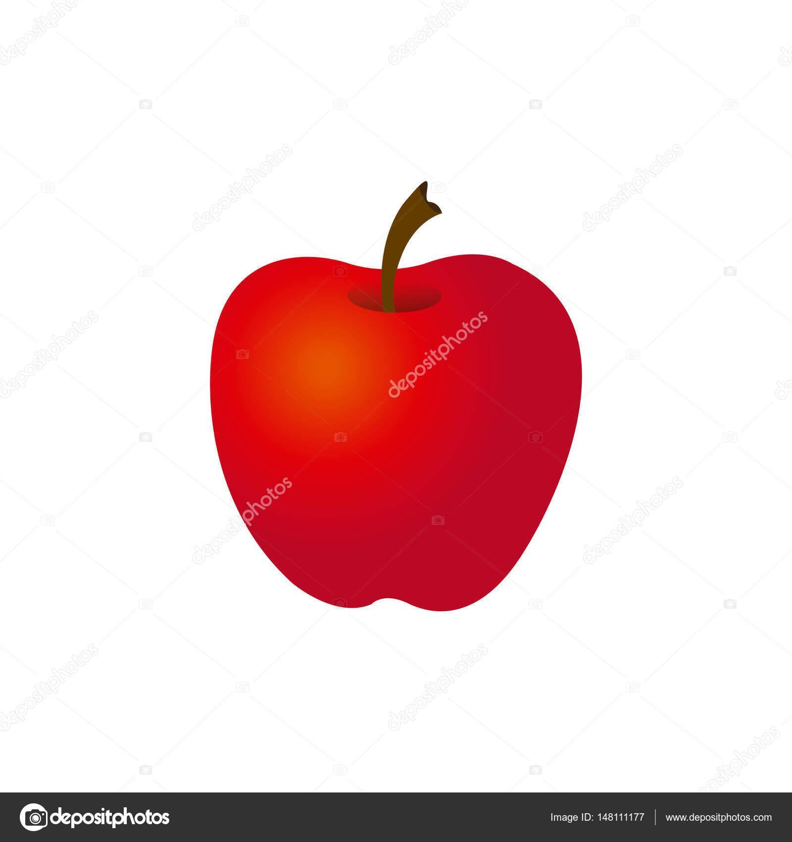 silueta colores manzana roja la fruta del alimento — Archivo ...