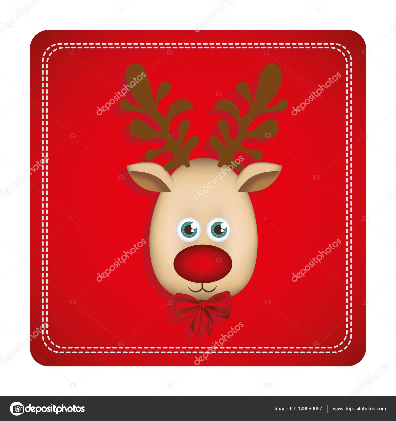 buntes quadratisches Format mit Weihnachten Rentier Gesicht ...
