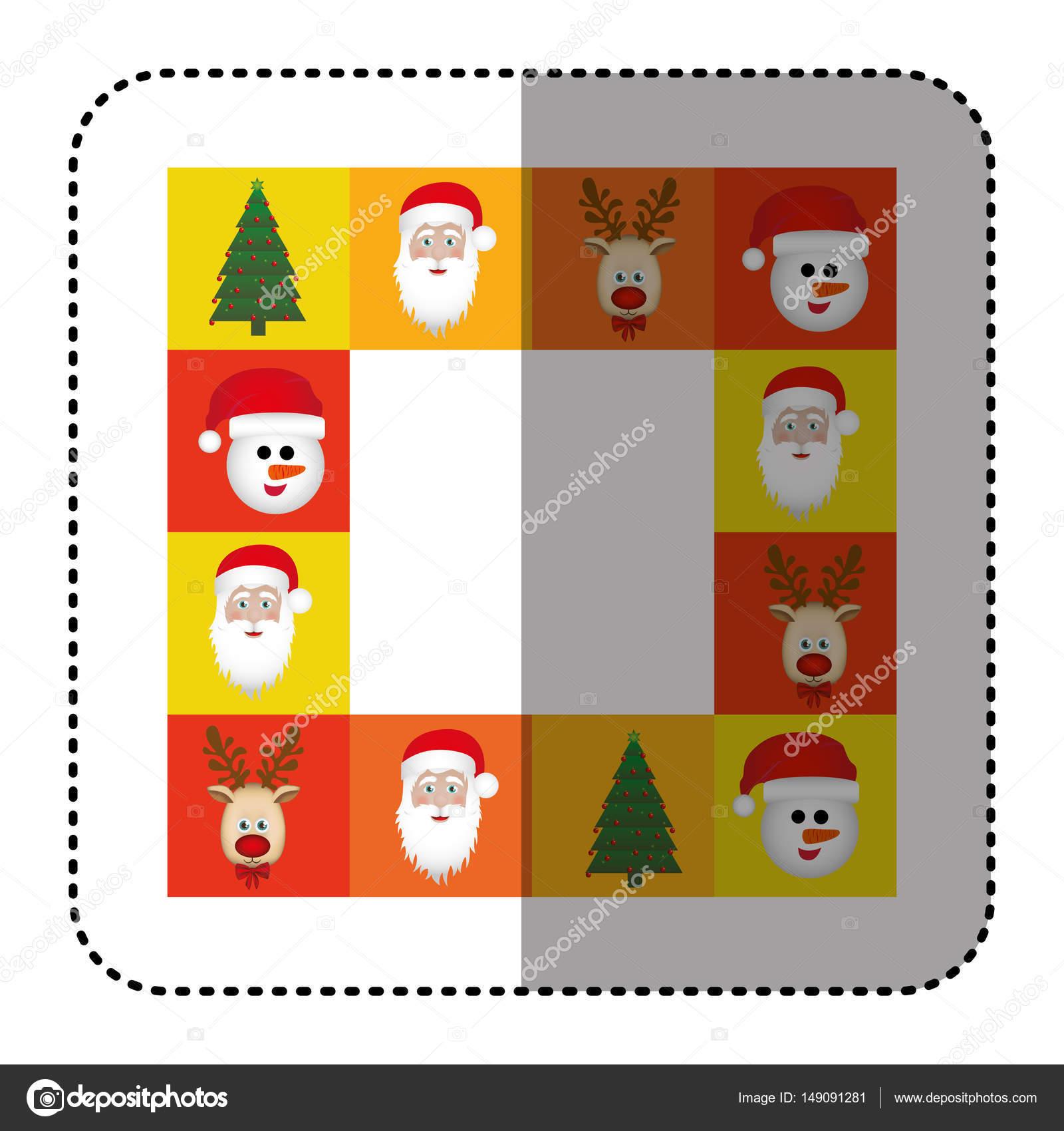 Sticker bunt quadratischen Weihnachten Rahmen dekorative ...