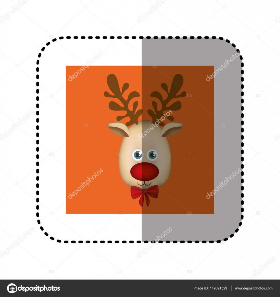 Aufkleber orange quadratischen Rahmen mit Weihnachten Rentier ...