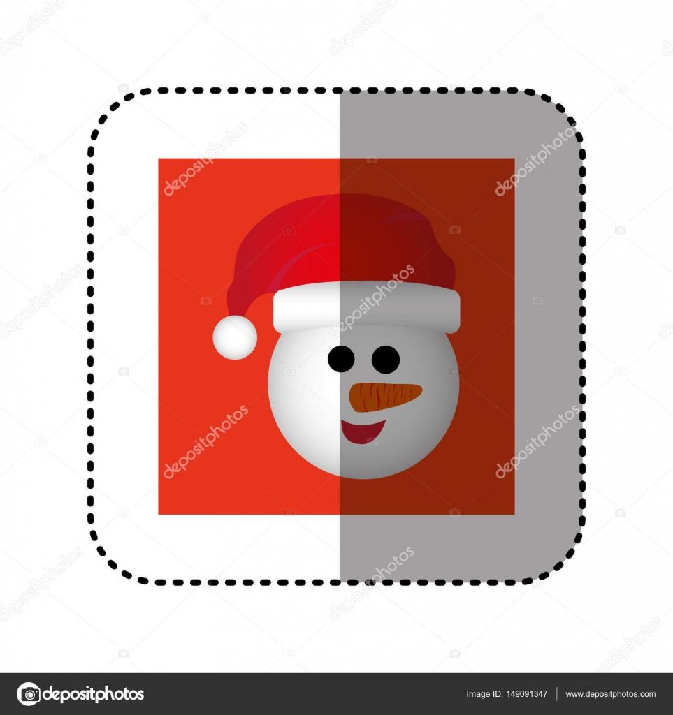 Aufkleber Red Square Rahmen mit Cartoon Schneemann Weihnachten ...