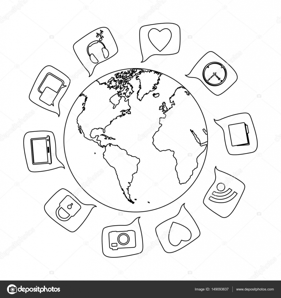 Silhouette world map globe with dialogue social icons stock vector silhouette world map globe with dialogue social icons stock vector gumiabroncs Choice Image