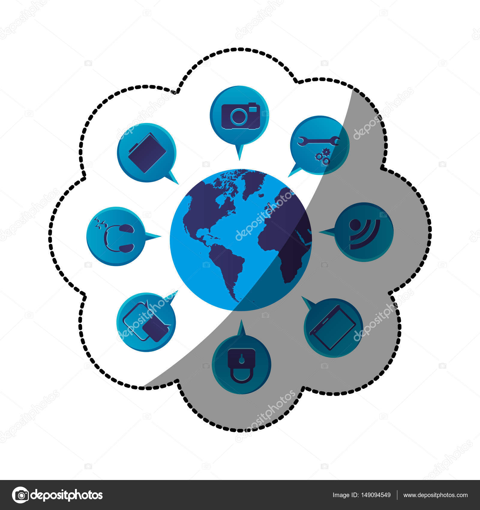 Sticker blue color world map globe with dialogue social icons sticker blue color world map globe with dialogue social icons stock vector 149094549 gumiabroncs Choice Image