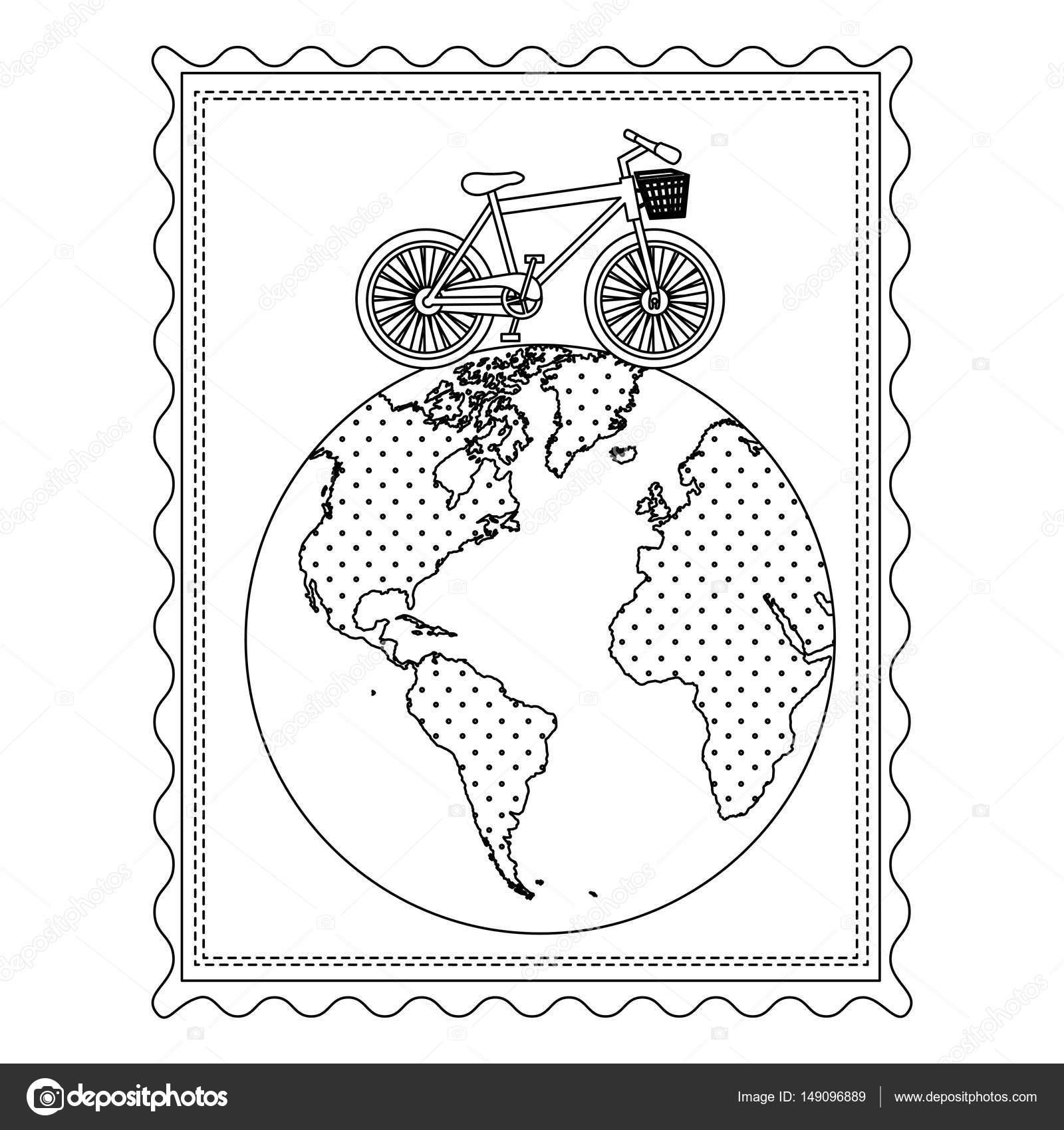 marco de silueta con la bicicleta sobre el mapa del mundo — Vector ...