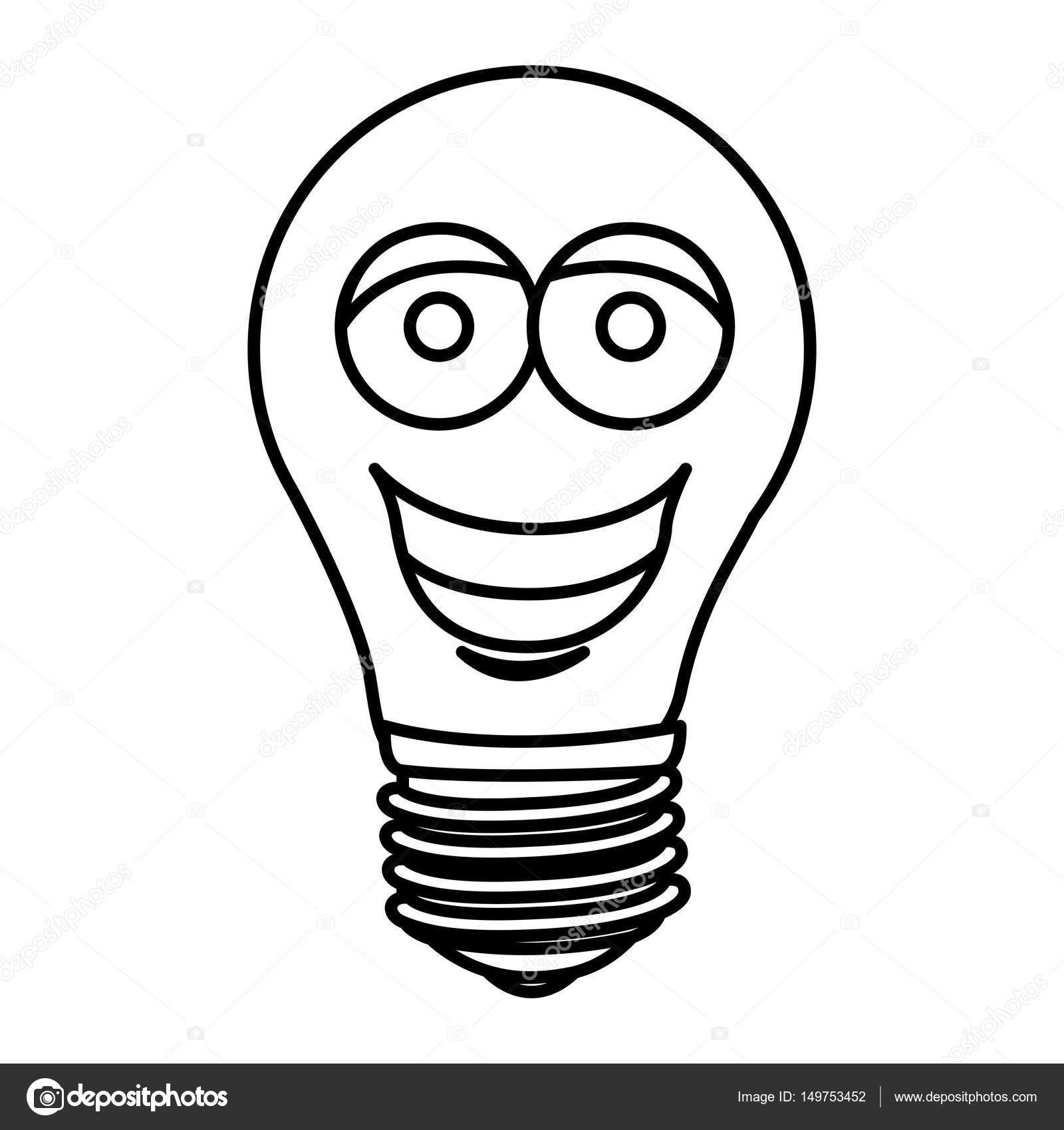 Silhouette der Karikatur Gesicht Glühbirnen-Symbol — Stockvektor ...