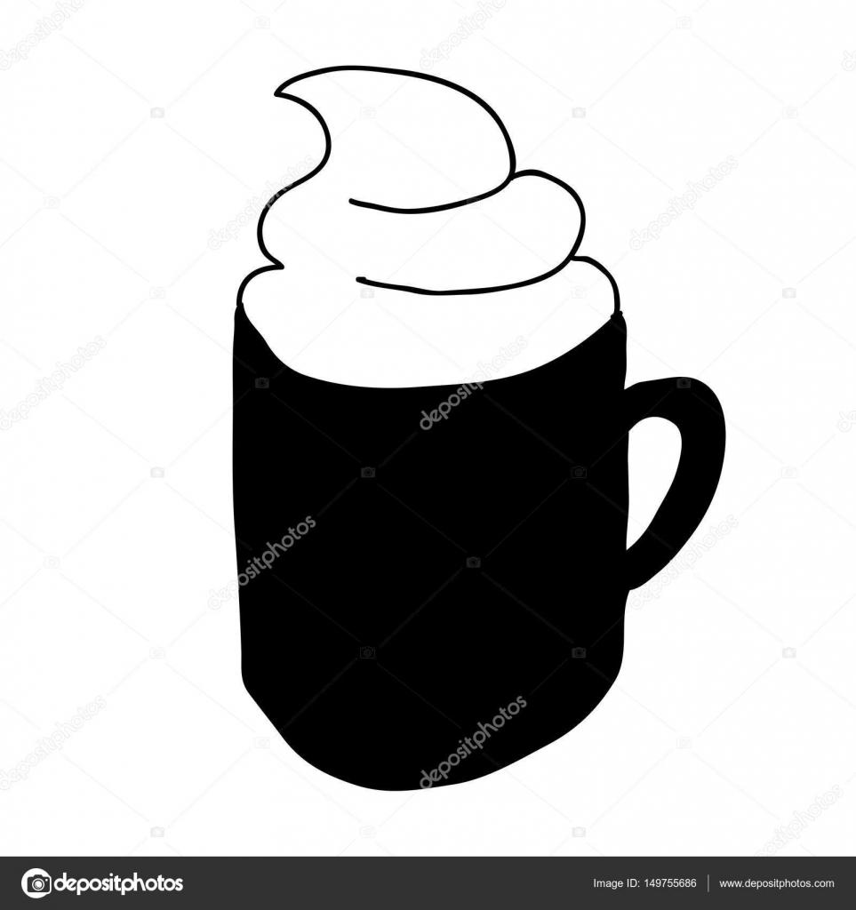 Schwarze Silhouette Von Hand Gezeichnet Mit Kaffeetasse Mit Sahne