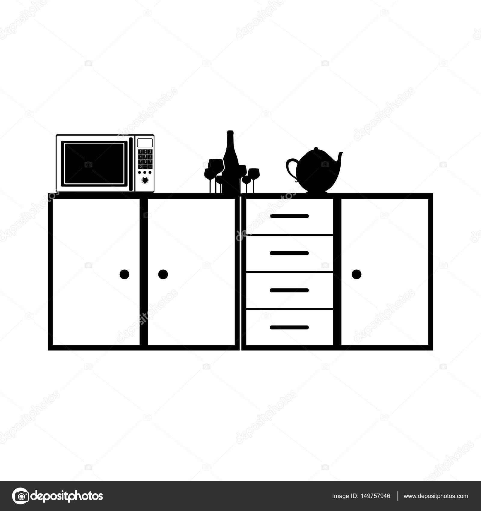 Monochrome Silhouette Der Küche Regal Und Schubladen Und Tee