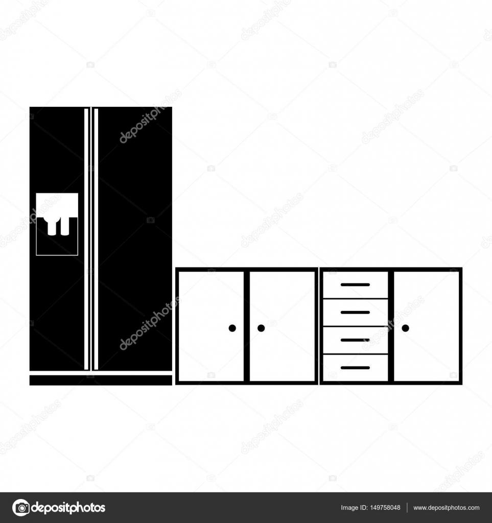 monocromo silueta baja de gabinetes de cocina con nevera — Vector de ...