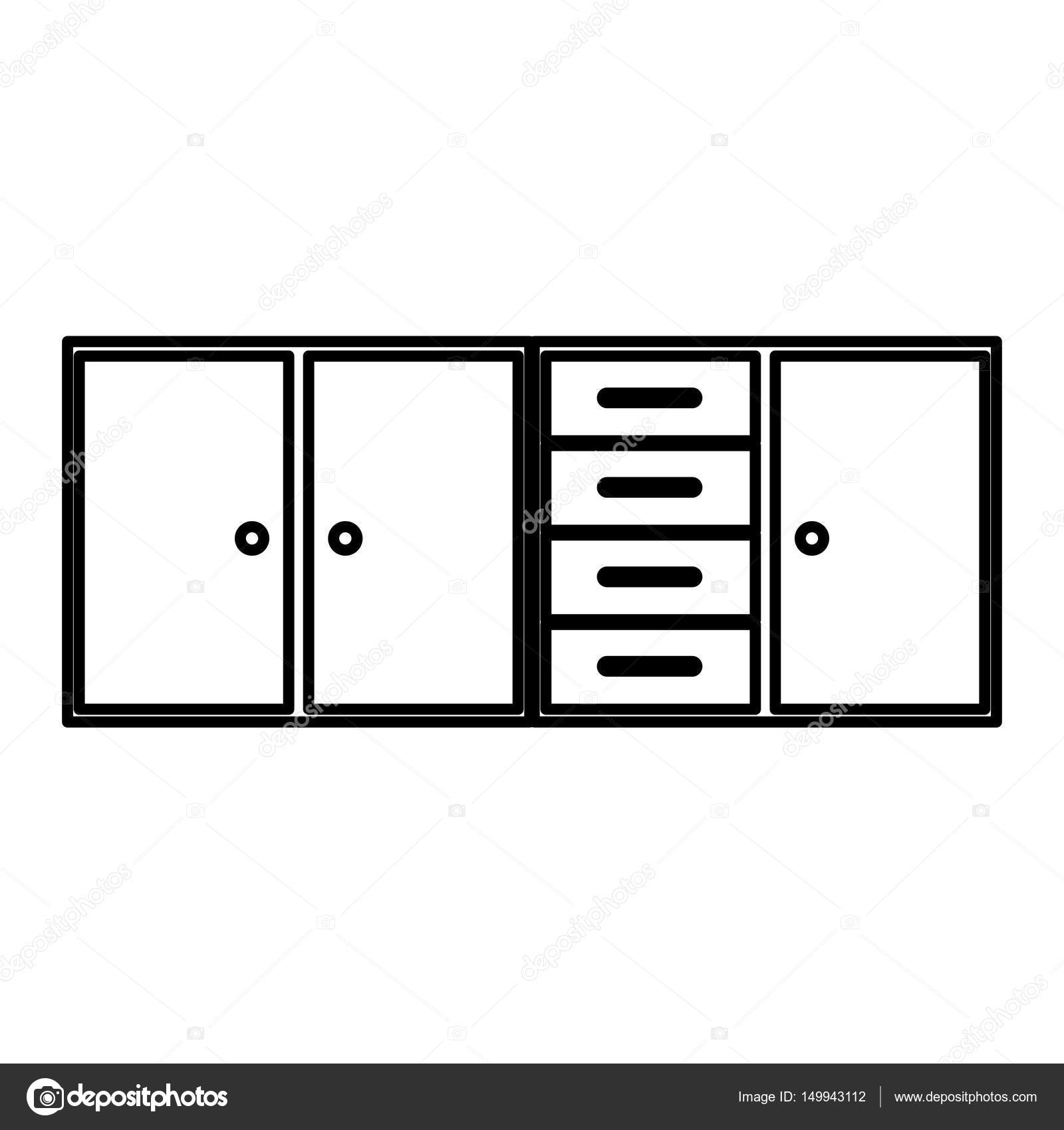 Sketch silhouette of modern kitchen lower cabinets — Stock ...