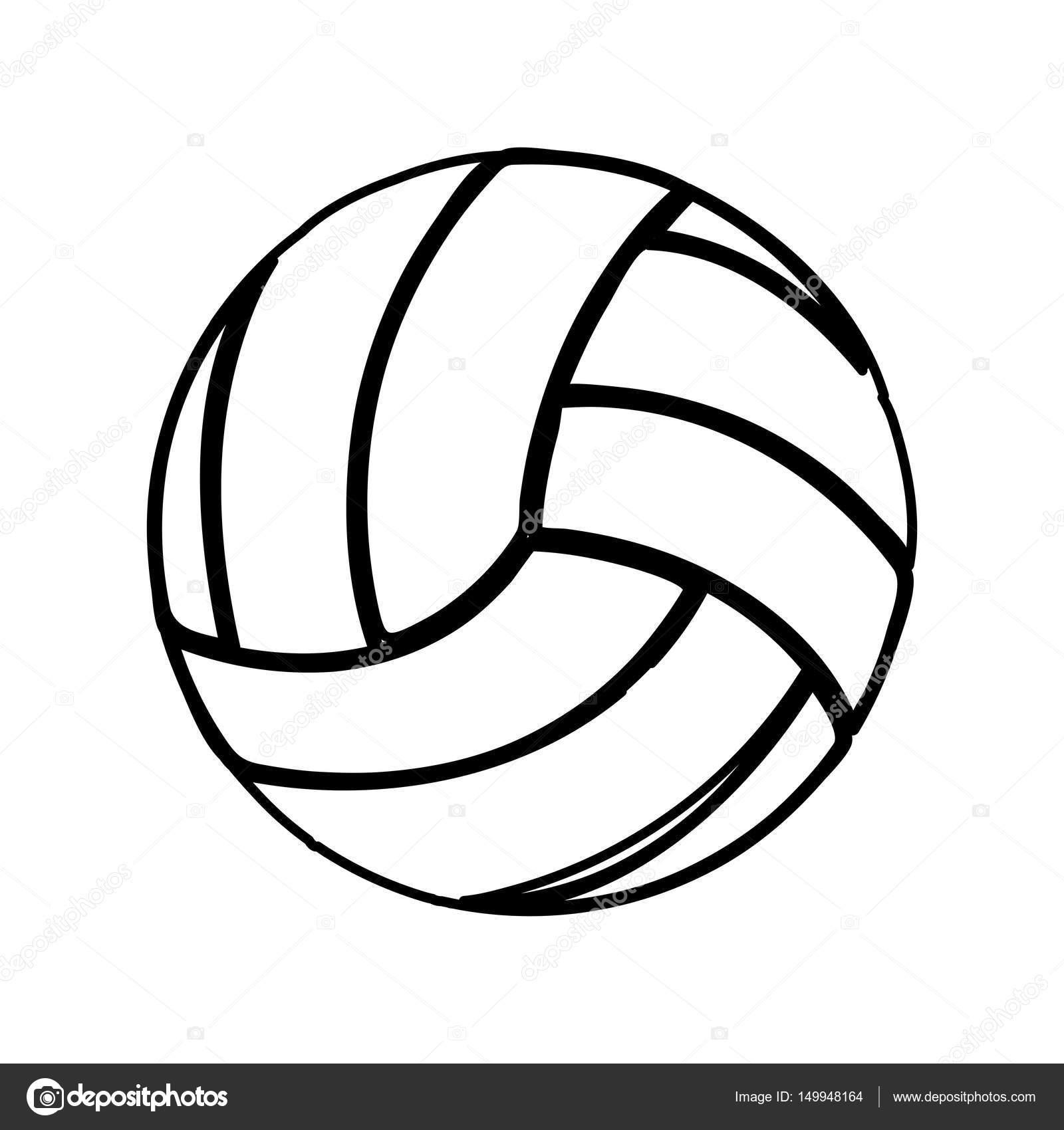 monocromo contorno de pelota de voleibol — Vector de stock ...
