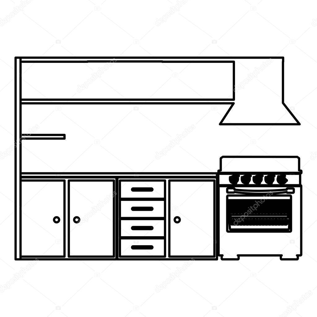 Kitchen Furniture Silhouette: ストーブと近代的なキッチン キャビネットのシルエット