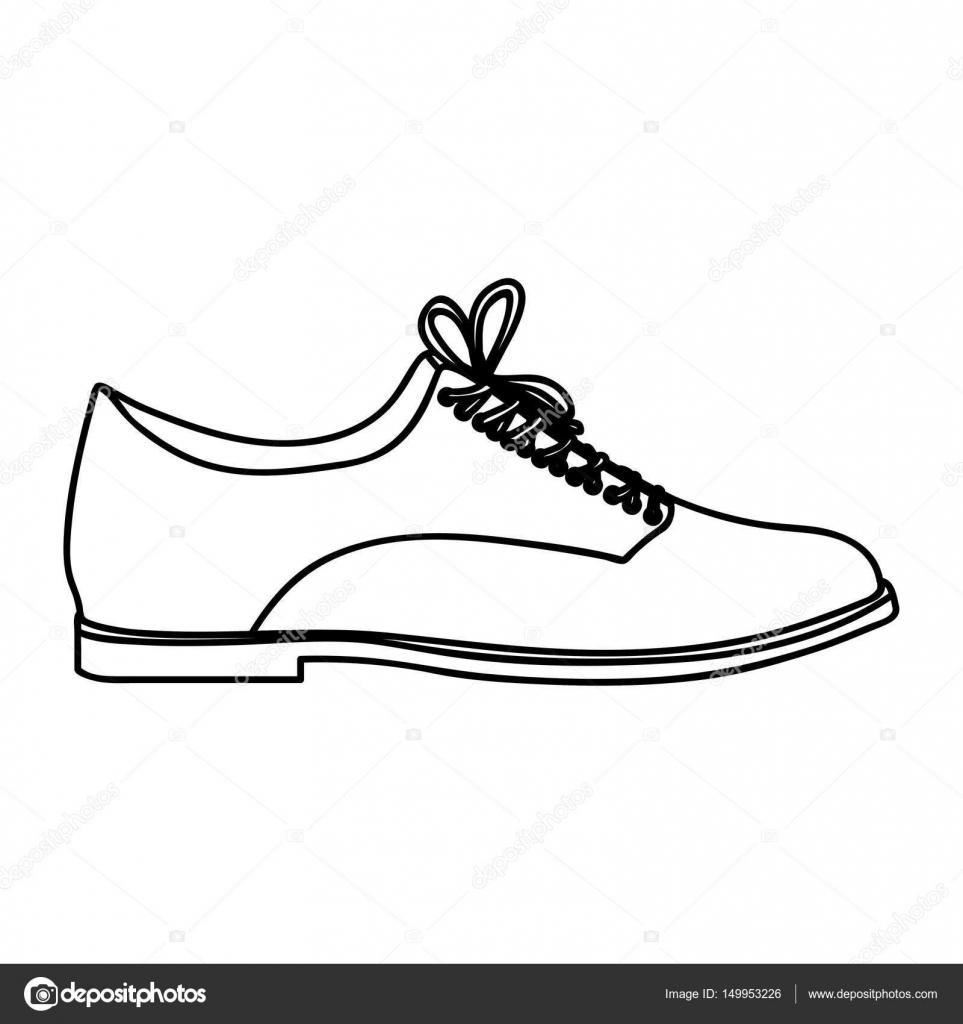 Monocromo De Zapato Cordones Cuero Silueta Masculino Con 6r0q6gw