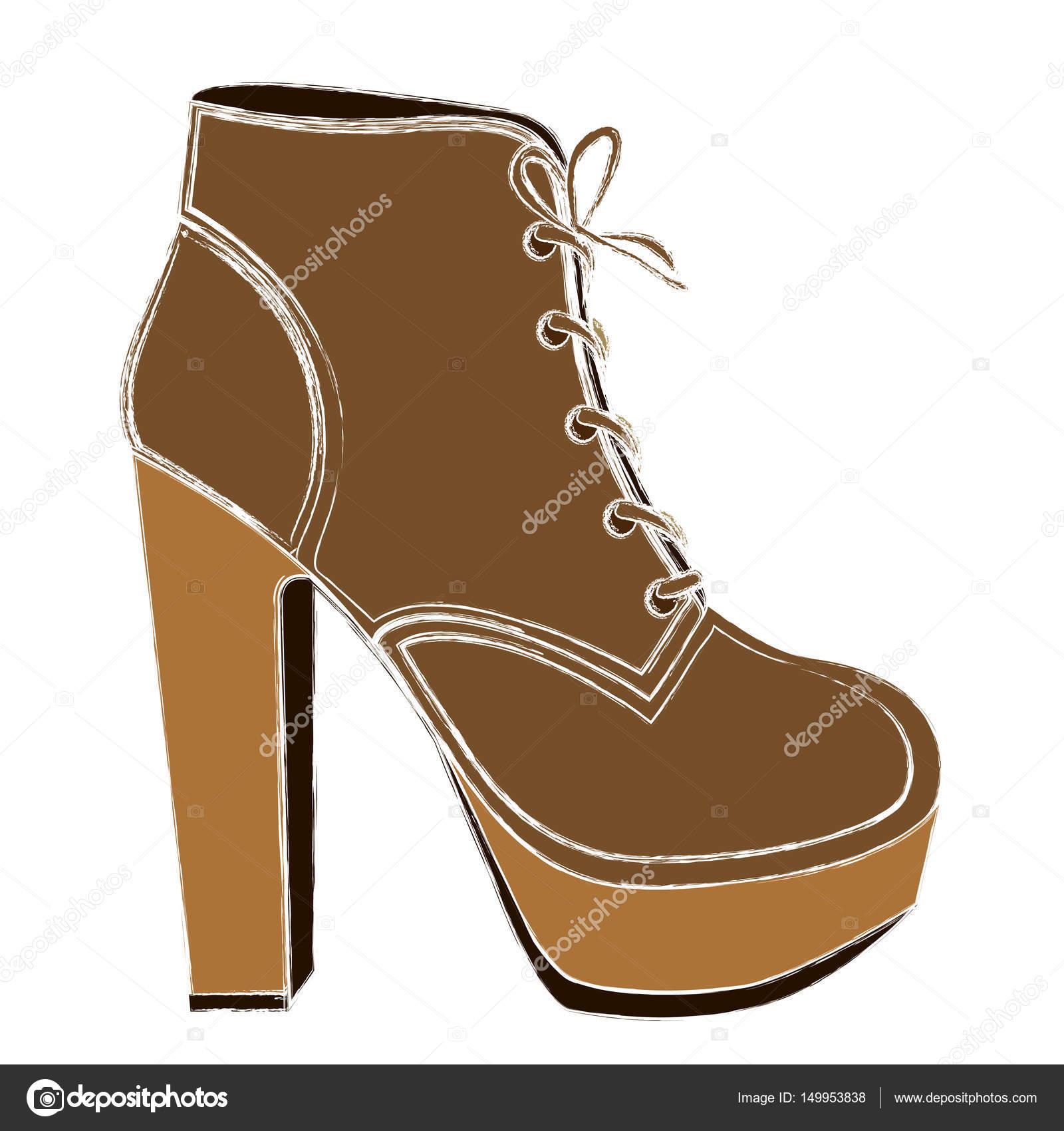 47b7e0edac Esboço de sapato de salto alto com cadarço da cor ilustração vetorial —  Vetor de ...