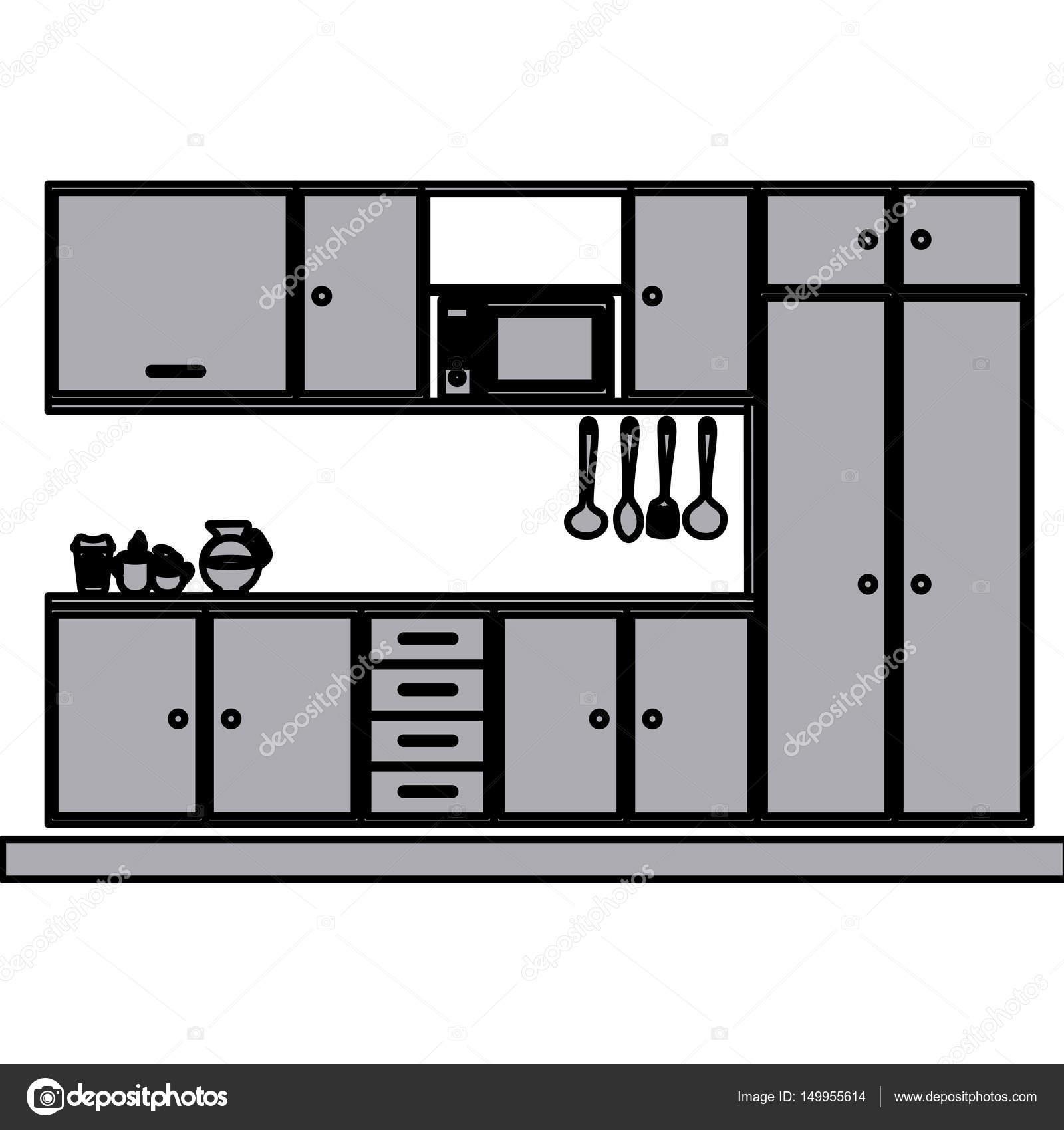 silueta en escala de grises con gabinetes de cocina modernos ...