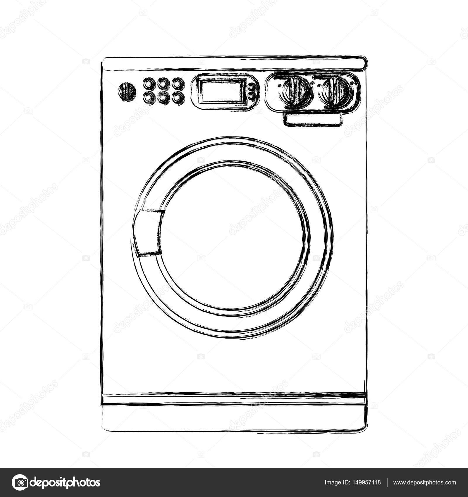 monochrome sketch of washing machine stock vector grgroupstock 149957118. Black Bedroom Furniture Sets. Home Design Ideas