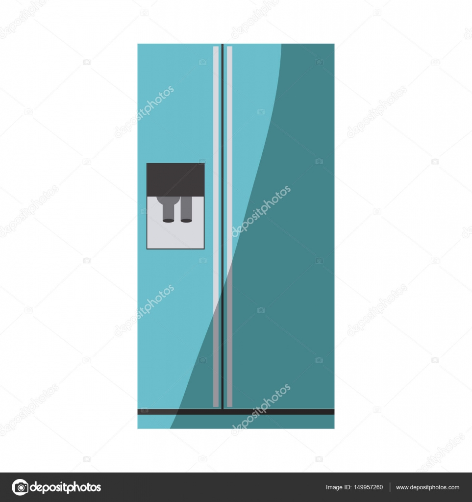 sagoma di colore blu del frigo con dispenser di acqua — Vettoriali ...