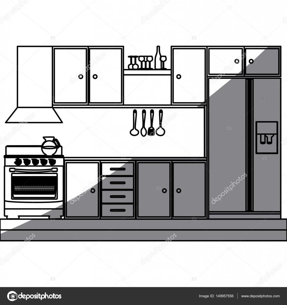 Kitchen Furniture Silhouette: コンロと冷蔵庫付きキッチン キャビネットのモノクロ シルエット