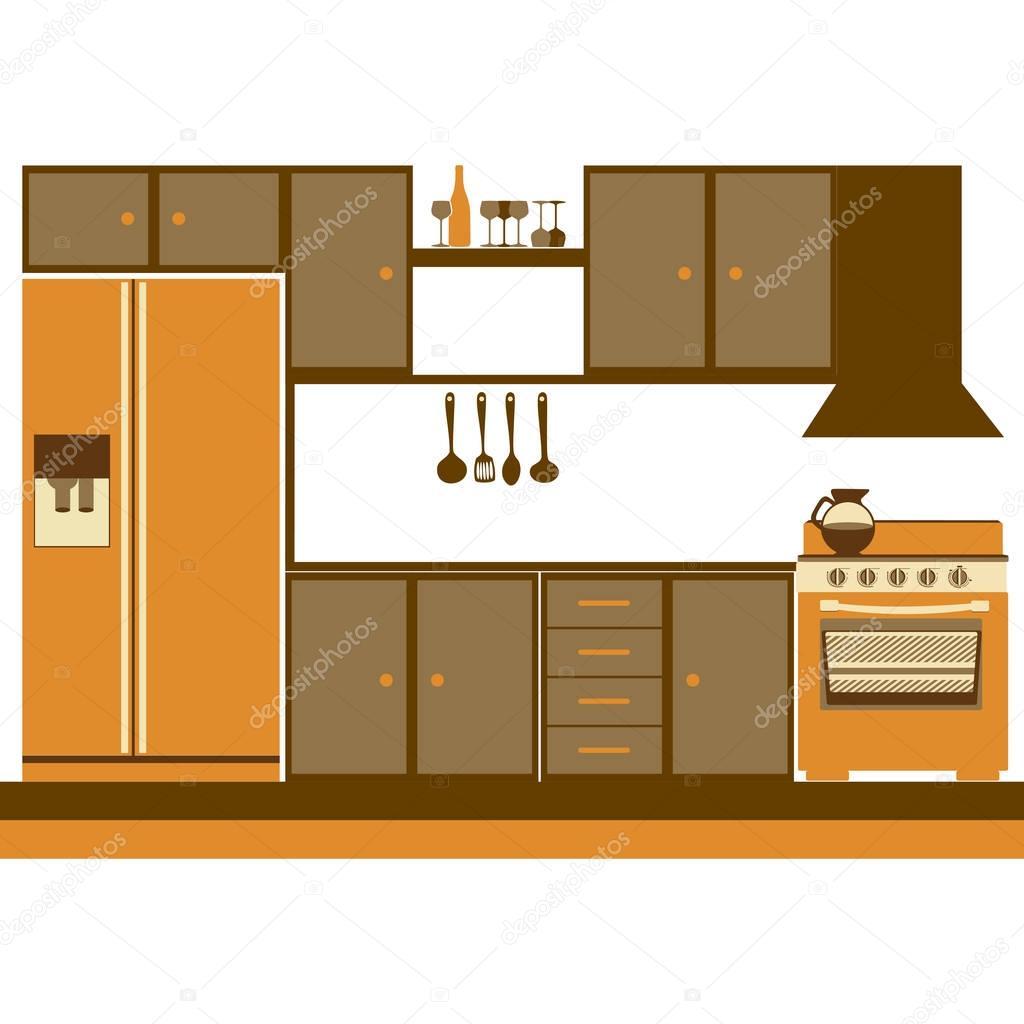 Kitchen Furniture Silhouette: силуэт цвет шкафов кухня с плитой и холодильником