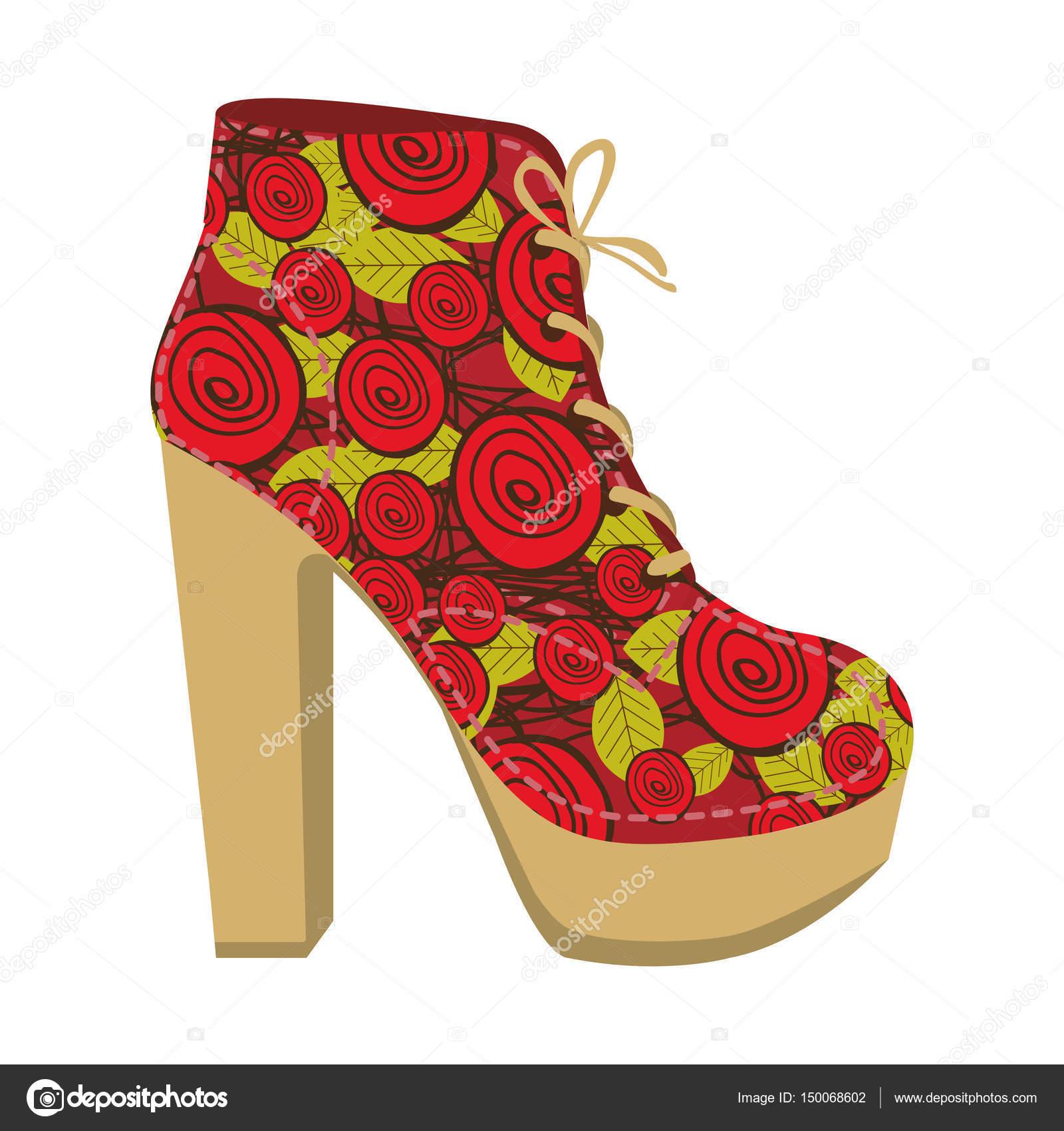 8f1dd93bdf Silhueta colorida de sapato de salto alto com cadarços com decoração floral  — Vetores de Stock