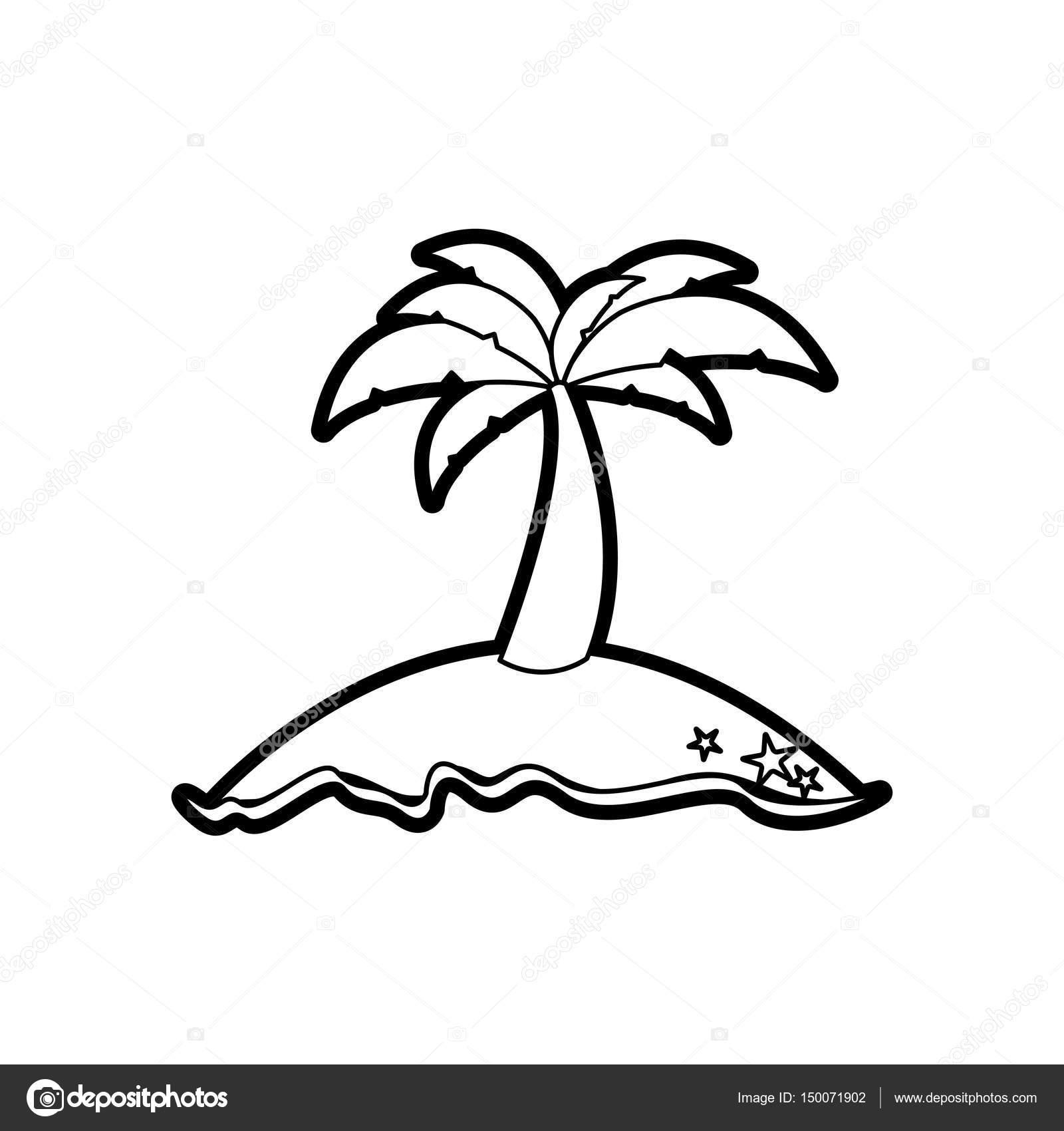 negro grueso contorno de isla con palmera — Vector de stock ...