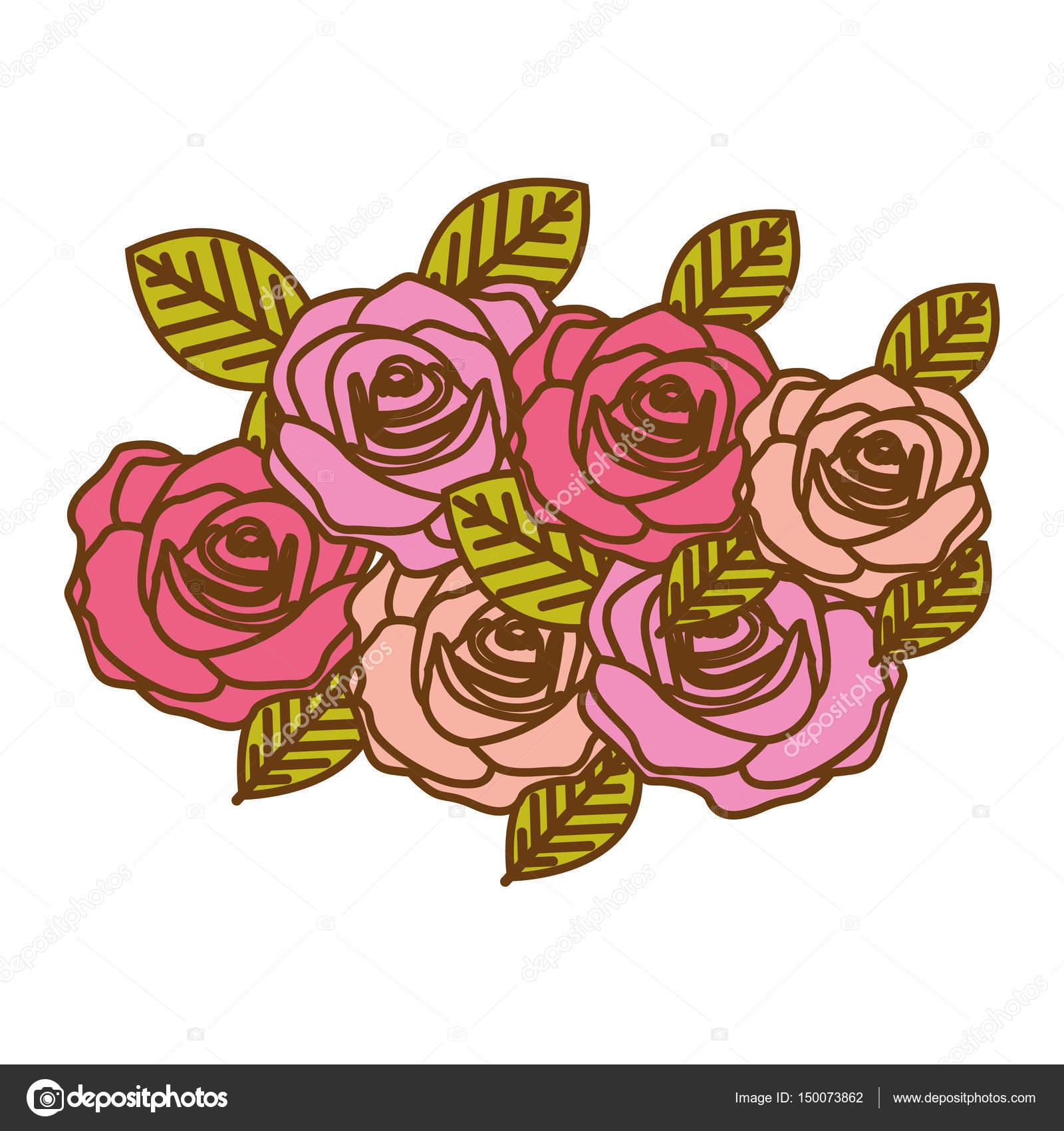 Disegno Decorativo Del Mazzo Di Rose Variopinte Realistiche