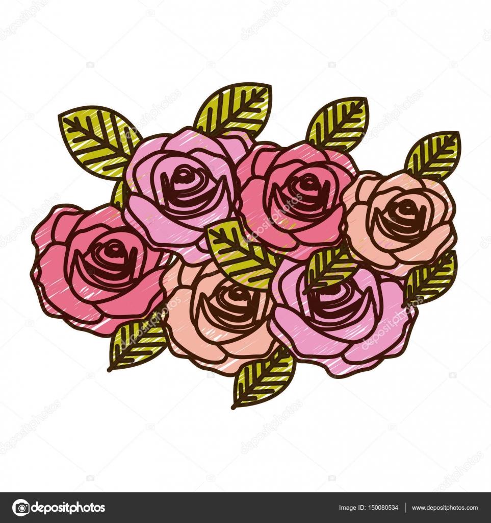 Dibujos Ramo De Rosas A Lapiz Lápiz De Color Dibujo De Diseño