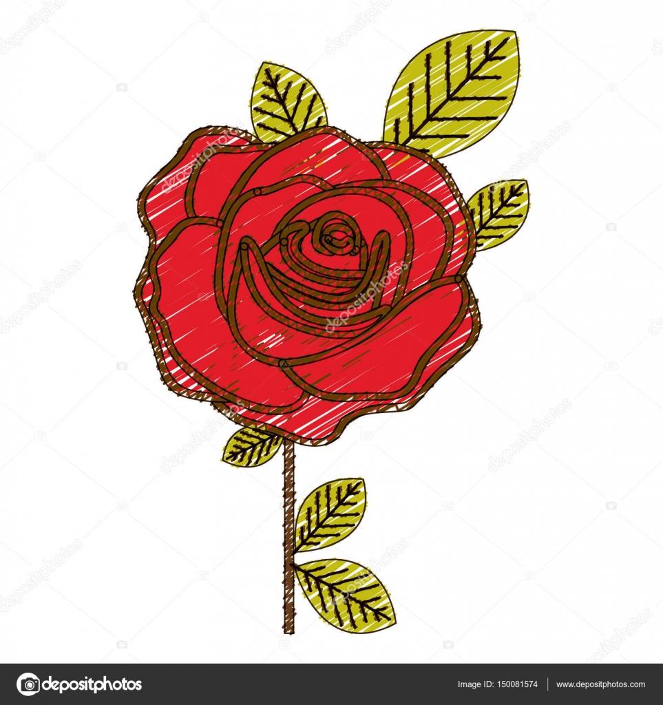 Crayon De La Couleur De Dessin De Fleurs Rose Rouge Avec Des