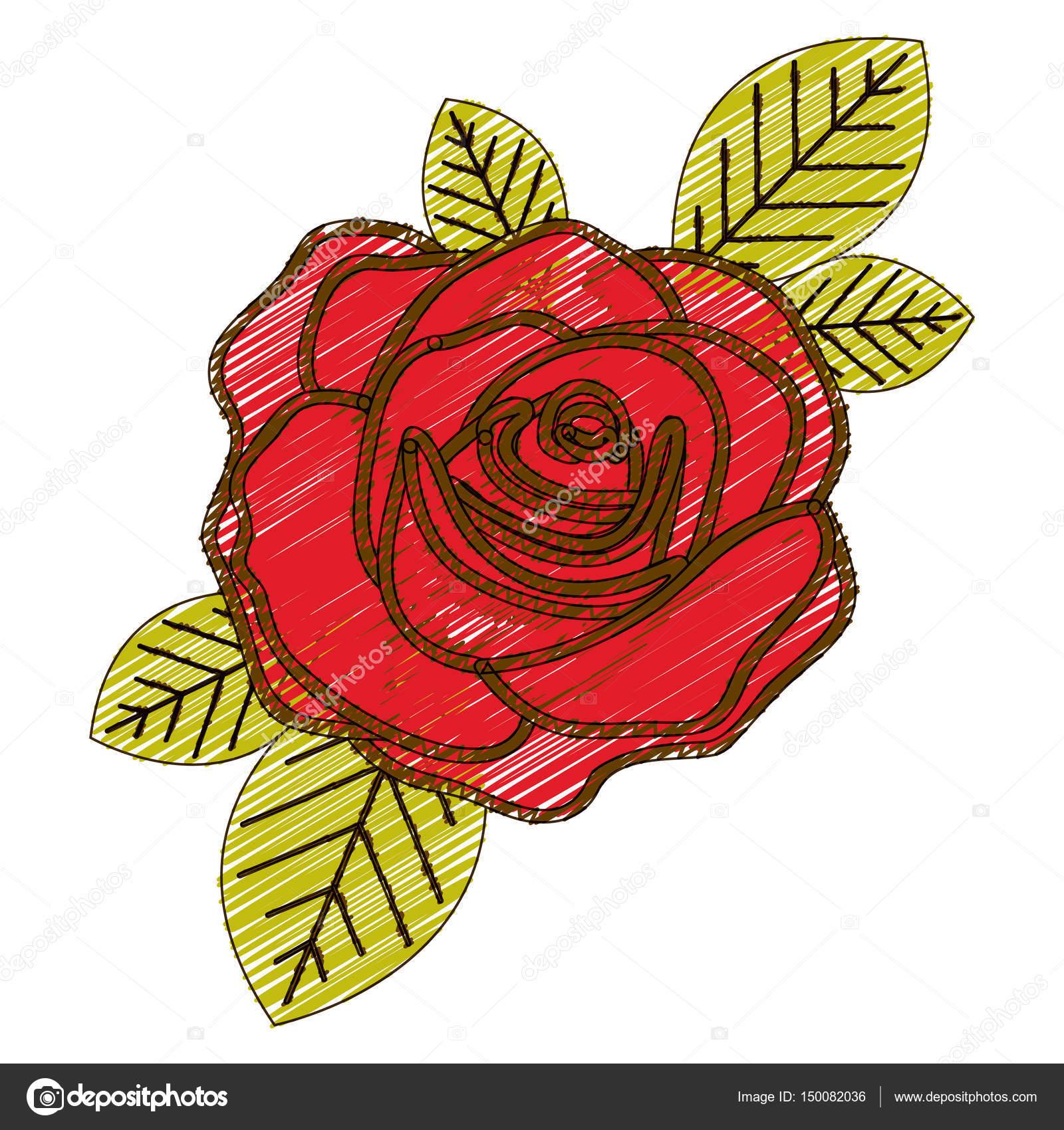 Crayon De La Couleur De Dessin De Fleurs Rose Rouge Avec