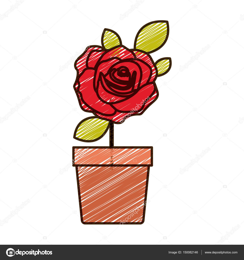 Dessin De Fleurs Rose Rouge Avec Des Feuilles Au Crayon De Couleur