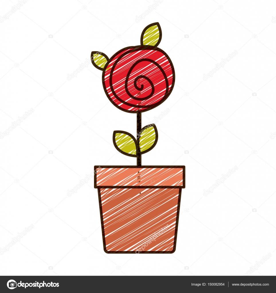 Dessin De Rose Rouge Bouton Avec Feuilles Au Crayon De