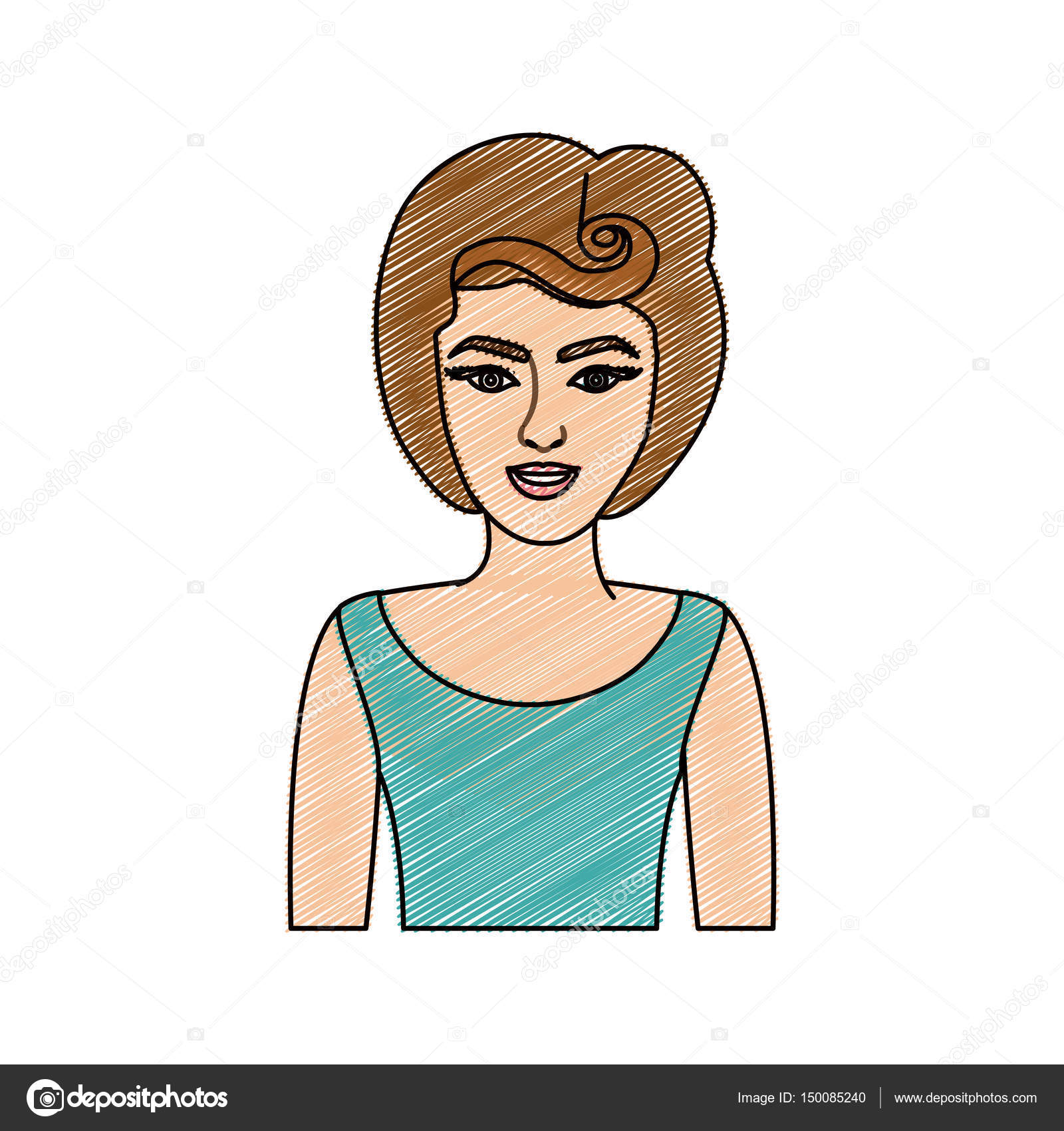 Bleistiftzeichnung halben Körper Frau mit 80er Jahre Frisur
