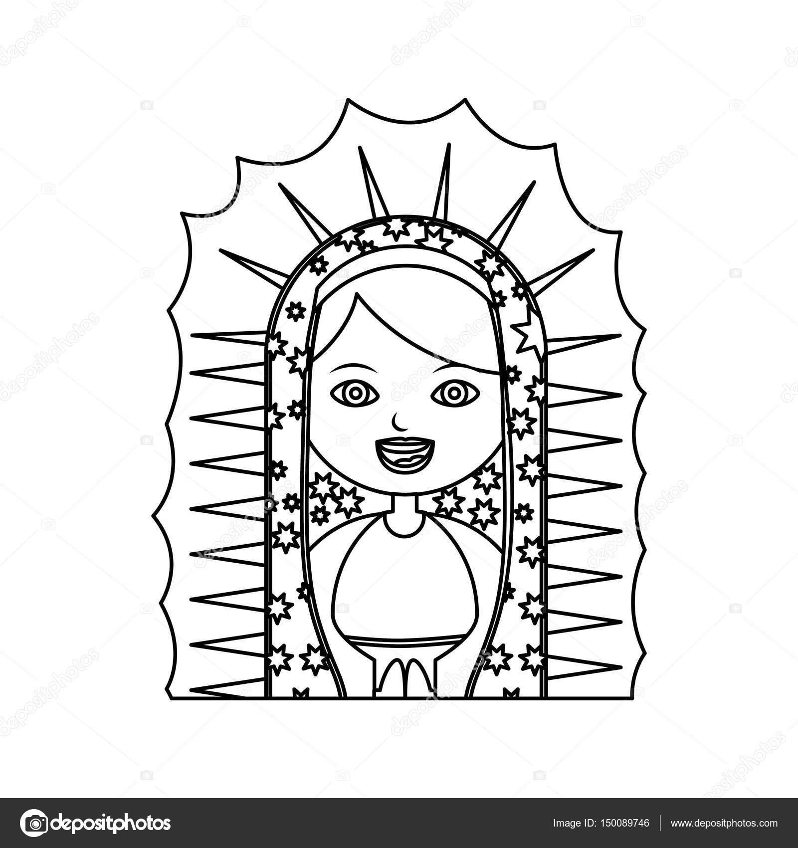 monocromo contorno de media tela de la Virgen de guadalupe — Vector ...