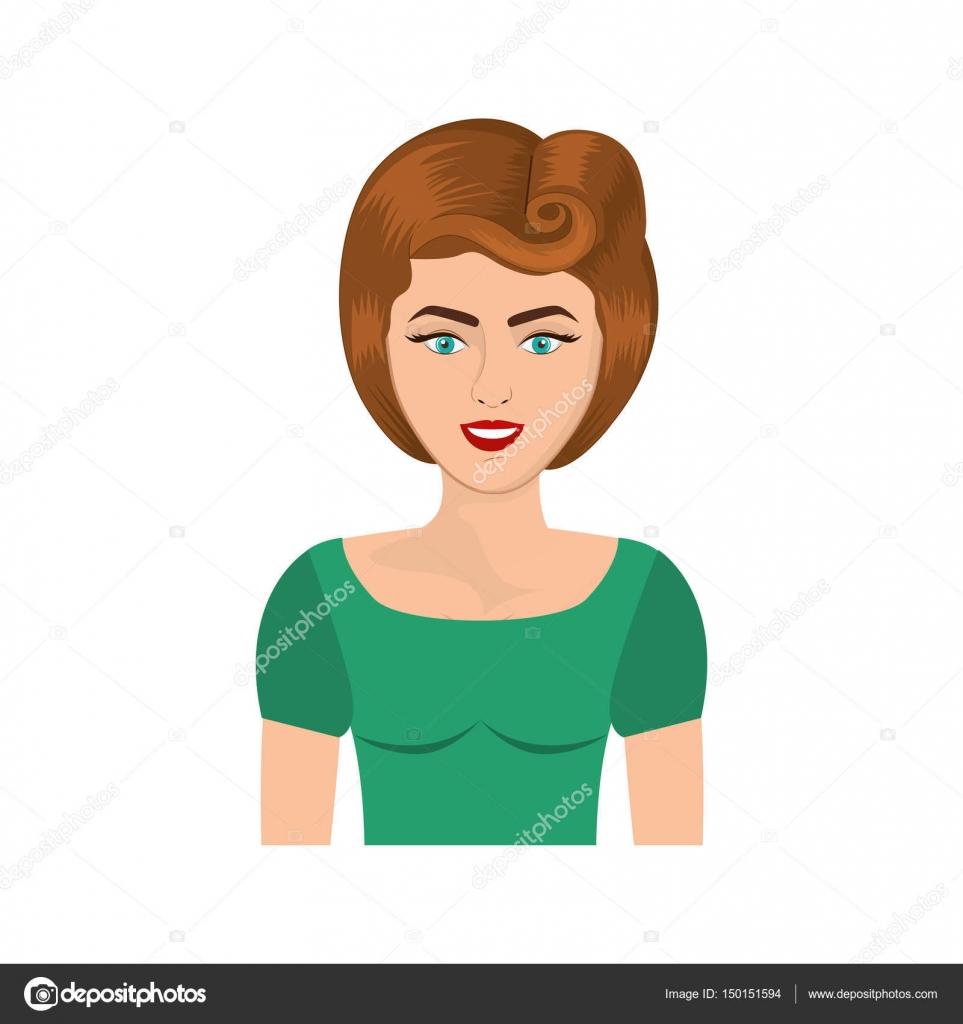 Bunte Realistische Halben Körper Frau Mit 80er Jahre Frisur