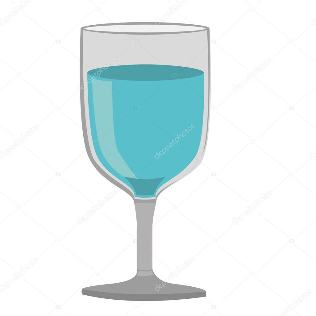 colorful silhouette of glass of wine with water