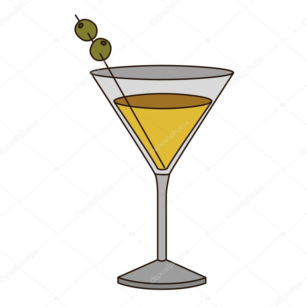 light coloured silhouette of drink cocktail glass vermouth