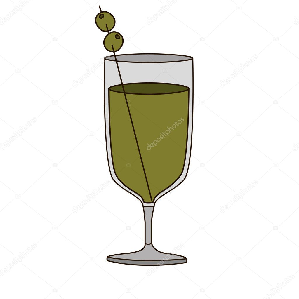 light coloured silhouette of glass cup cocktail