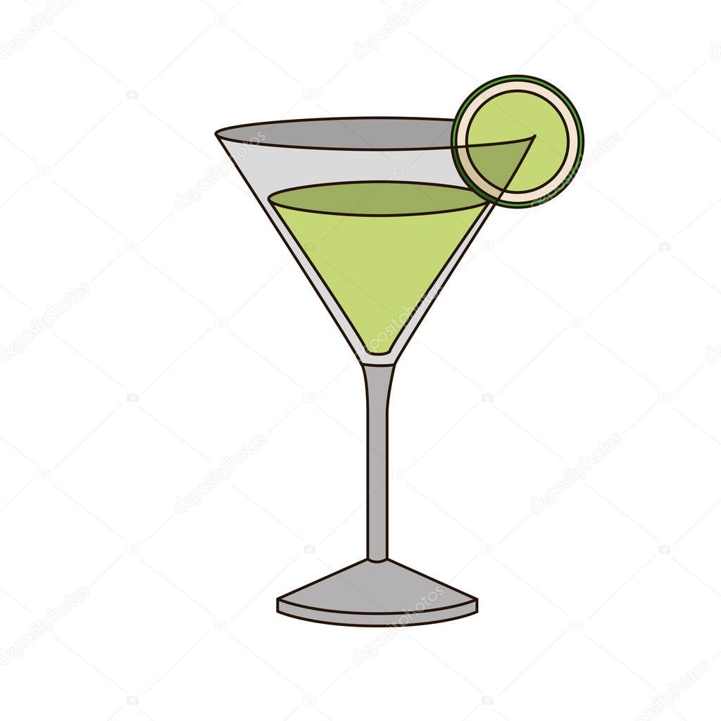 light coloured silhouette of drink cocktail glass vermouth with slice of lemon