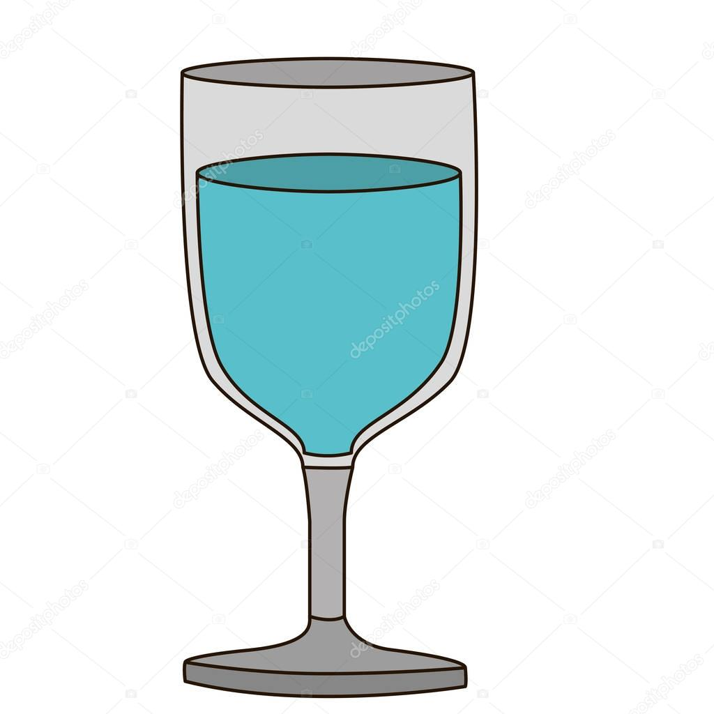 light coloured silhouette of glass of wine with water