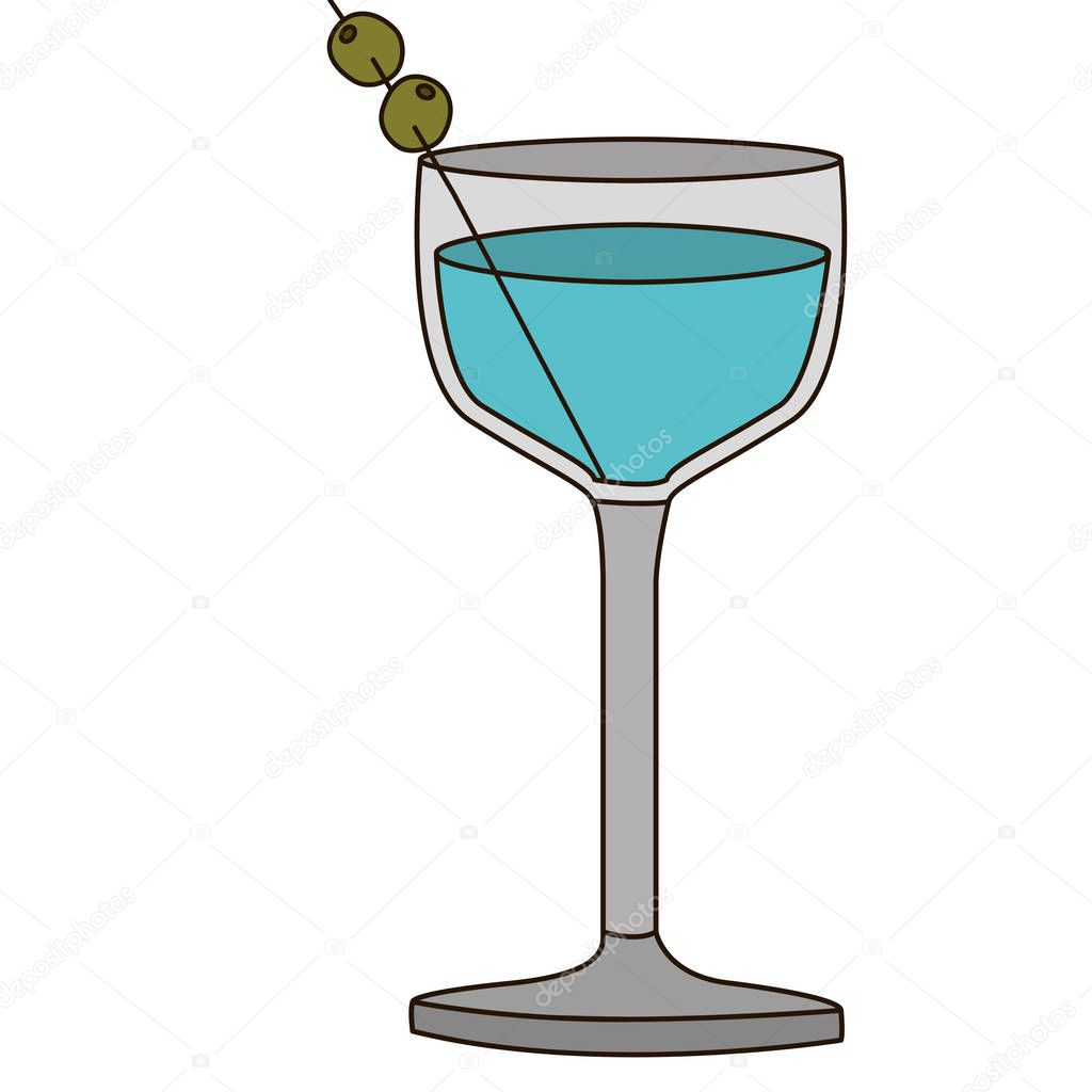 light coloured silhouette of glass cocktail with olive fruit