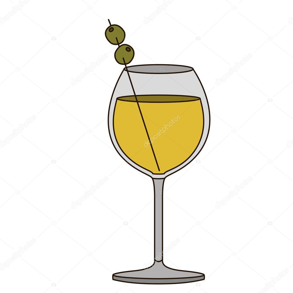 light coloured silhouette of burgundy glass cocktail with olive fruit